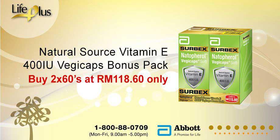 Surbex Natopherol Vegicaps Vitamin E 400I.U.